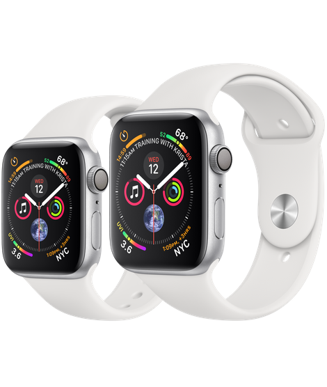 Apple Watch Series 4 Silver Aluminum Case With White Sport Band (GPS)