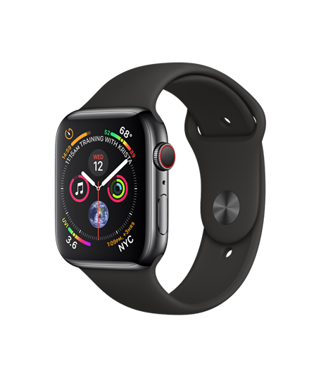 Apple Watch Series 4 Space Black Stainless Steel - Black Sport Band